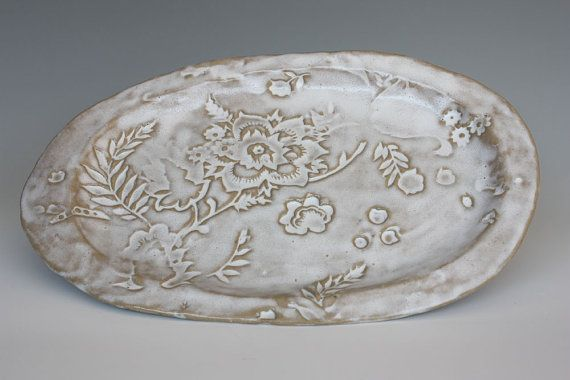 White Platter with vintage print
