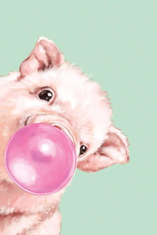 Sneaky Baby Pig Blowing Bubble Gum In Green Ar Big Nose Work Icanvas In 2021 Pig Art Pig Wallpaper Pig Painting