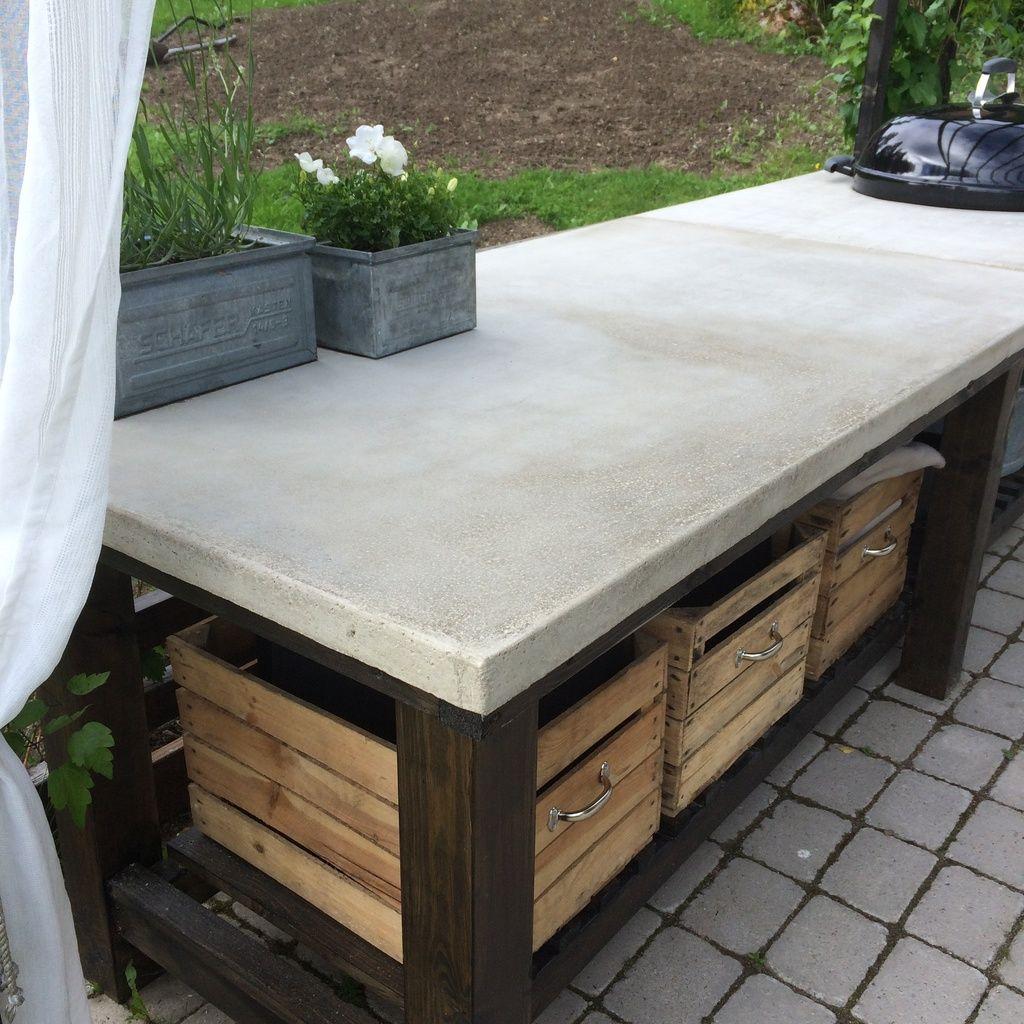 Gjuta bord betong Outdoors i 2019 Diy outdoor kitchen, Outdoor fireplace patio och Outdoor