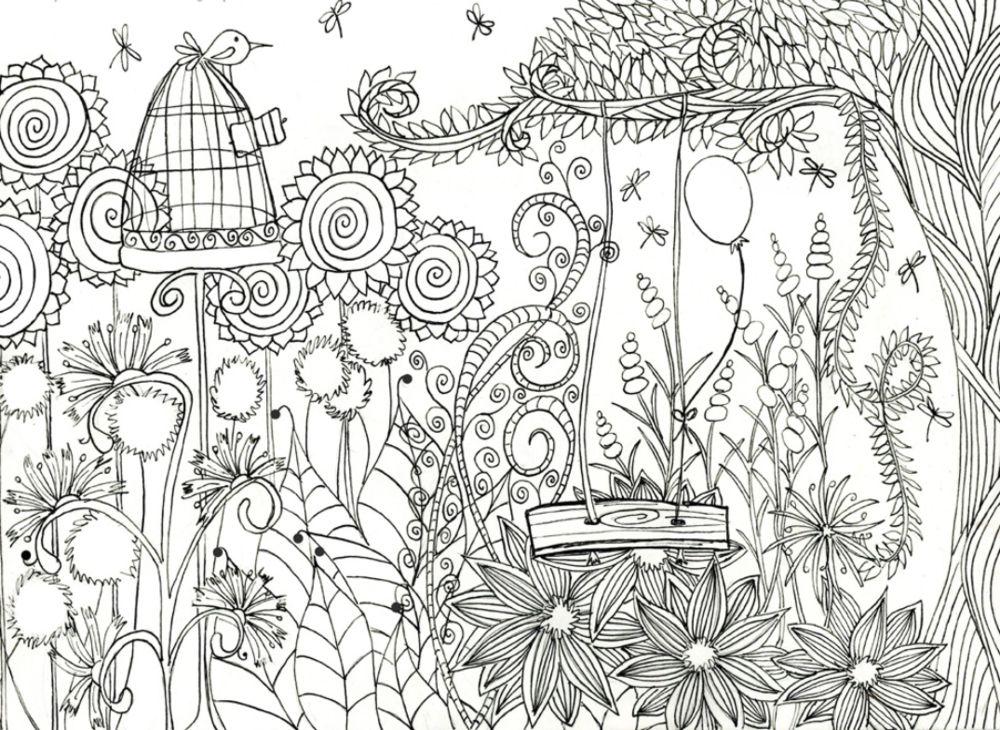 Magical Flower Garden Coloring Page Garden Coloring Pages Bird Coloring Pages Cute Coloring Pages