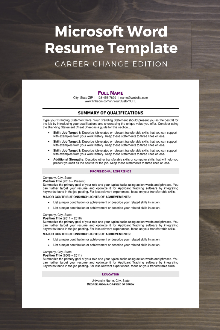 Microsoft Word Document Proven To Help Job Seekers Making A Major Career Change Pass Applicant Job Resume Examples Microsoft Word Document Career Change Resume