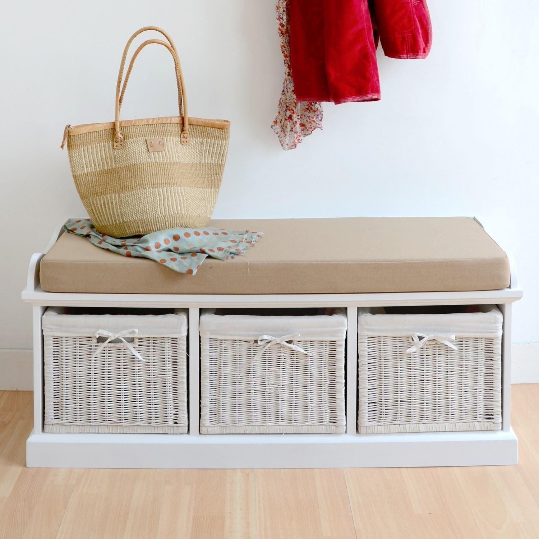 Tetbury White Storage Bench With Cushion. Quality Hallway Bench. VERY  STURDY: Amazon.