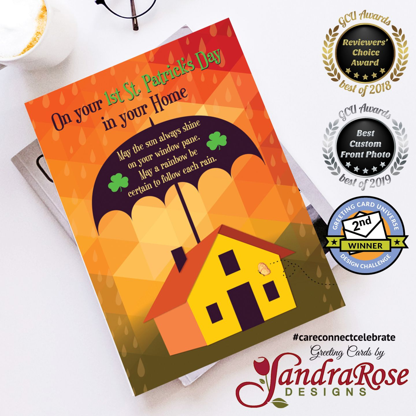 An Umbrella covers the home protecting it from the rain. A traditional Irish wish is written on the umbrella and is cute and fun to send on the First St. Patrick's Day in a new home.  #NewHome #Umbrella #Rain #Rainbow #First #StPatricksDay #StPatricks #SaintPatrick #SaintPatricksDay #CareConnectCelebrate #SandraRoseDesigns #Greetingcards #Greetingcard