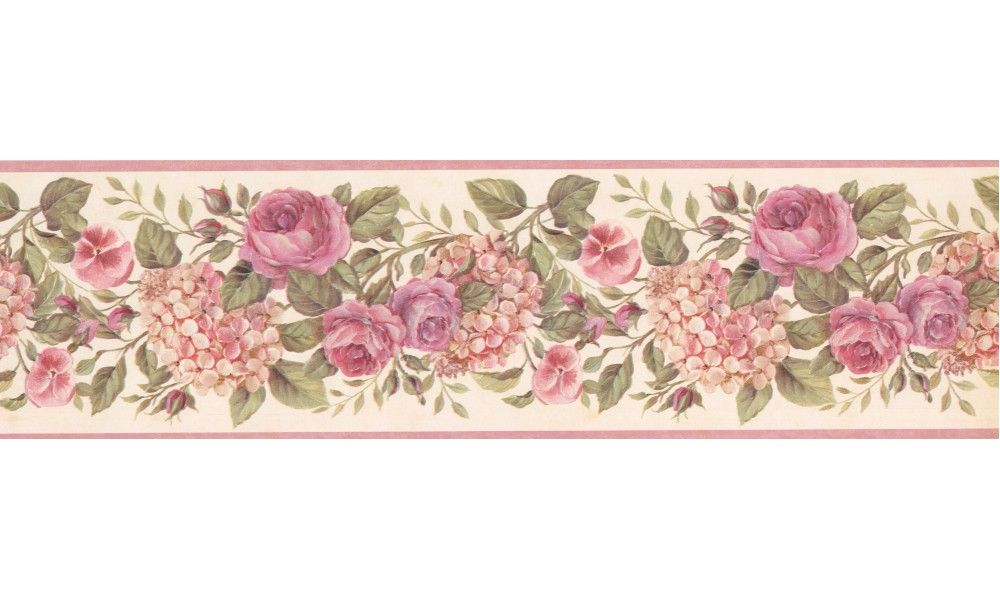 6 1 2 In X 15 Ft Prepasted Wallpaper Borders Floral Wall Paper Border 92102 Gu Floral Wallpaper Border Floral Wallpaper Wallpaper Border