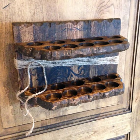 Rustic Pine Toung And Groove Interior Design: Live Edge, Solid Wood Essential Oil Organizer. Rustic