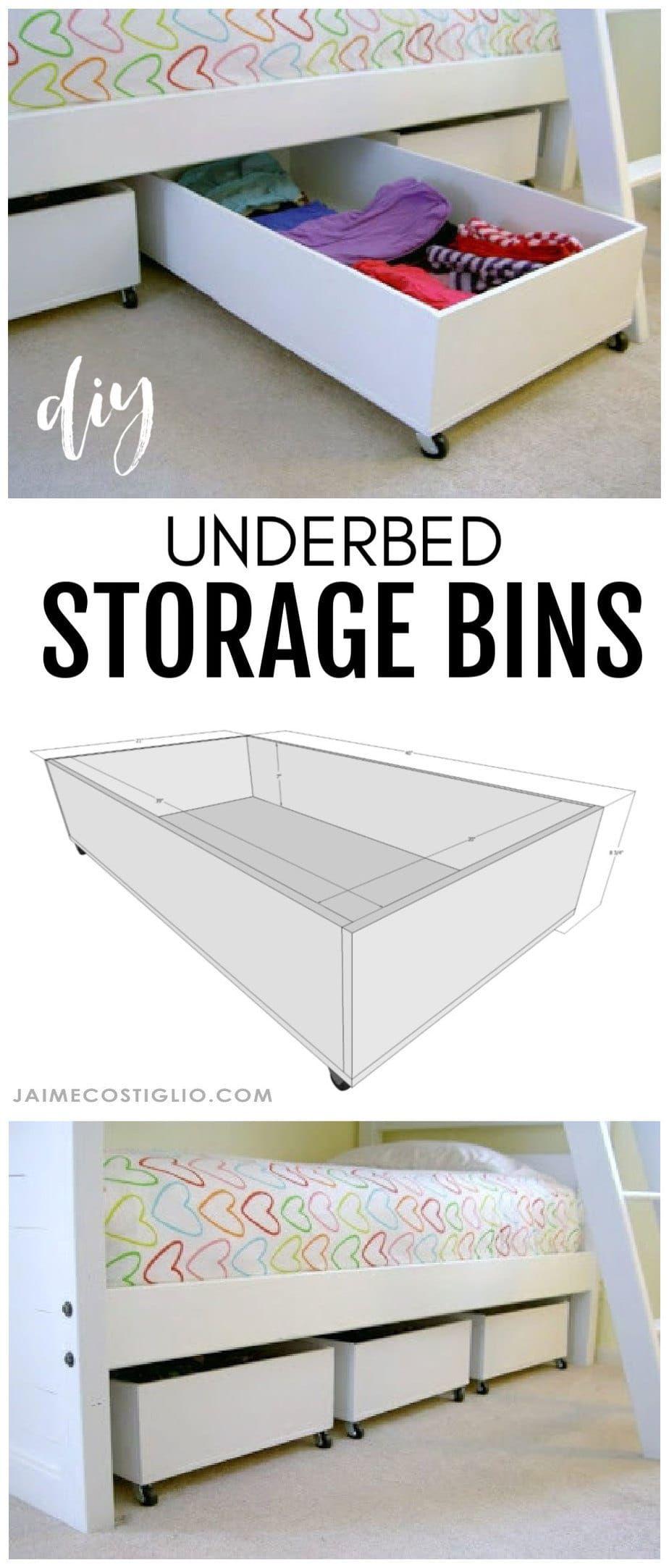 Diy Underbed Storage Bins From Plywood Jaime Costiglio In 2020 Diy Storage Bed Under Bed Storage Bins Under Bed Storage