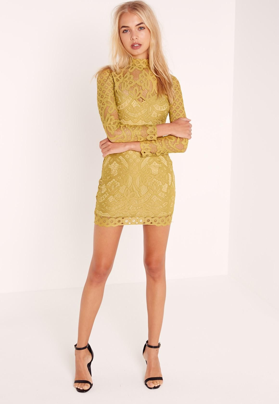 Petite lace high neck mini dress chartreuse green missguided