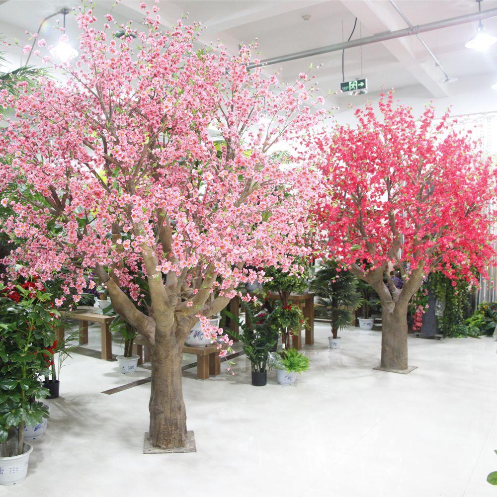 high quality silk artificial pink peach blossom tree landscape fake ...
