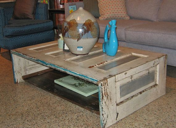 Coffee Table Made From Old Door By Kaboodlehome On Etsy 399 00 Door Coffee Tables Wooden Doors Repurposed Coffee Table To Dining Table