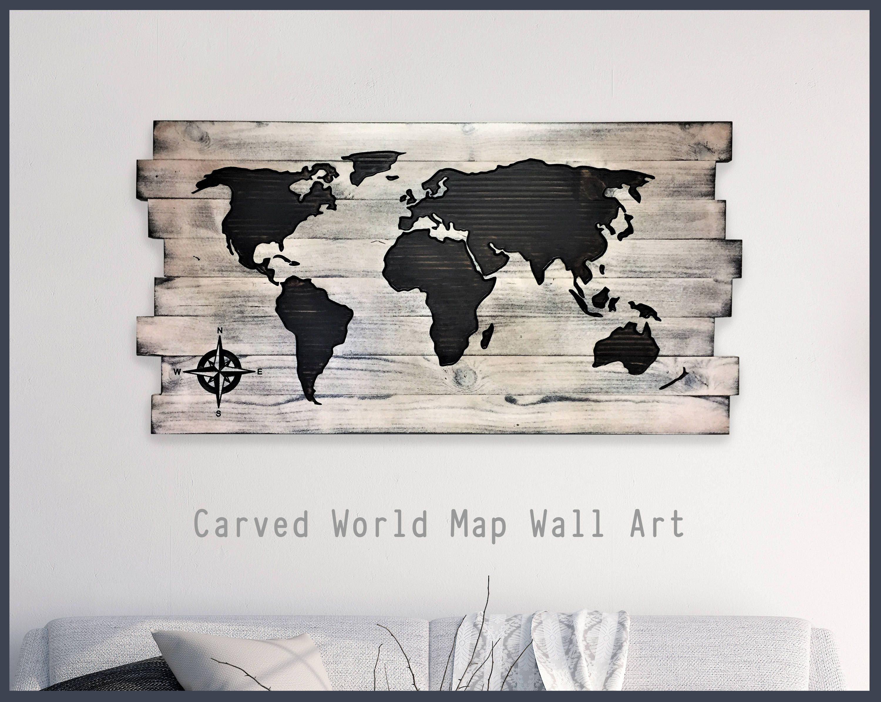 Wood Wall Art Wood Map Home Wall Decor Office Decor Pallet Map