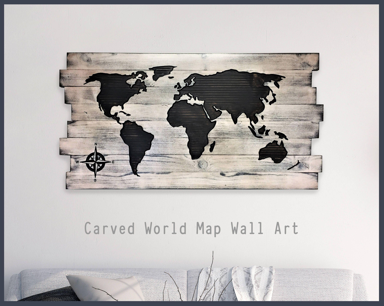 Wood Wall Art Wood Map Home Wall Decor Office Decor Pallet