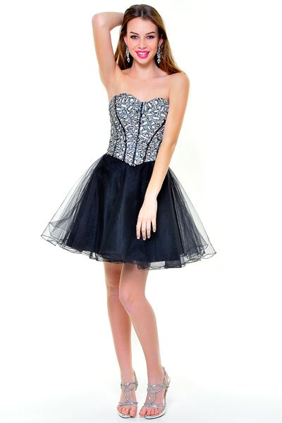 9766ab59 Black & White Silver Sequin Sweetheart Tulle Cocktail Dress ...