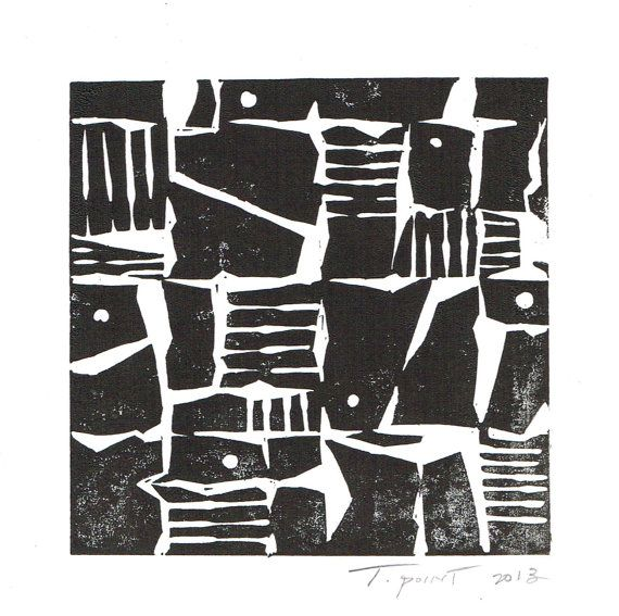 Items similar to linocut print modern abstract 5 x 5 square block print 1 7023 on etsy