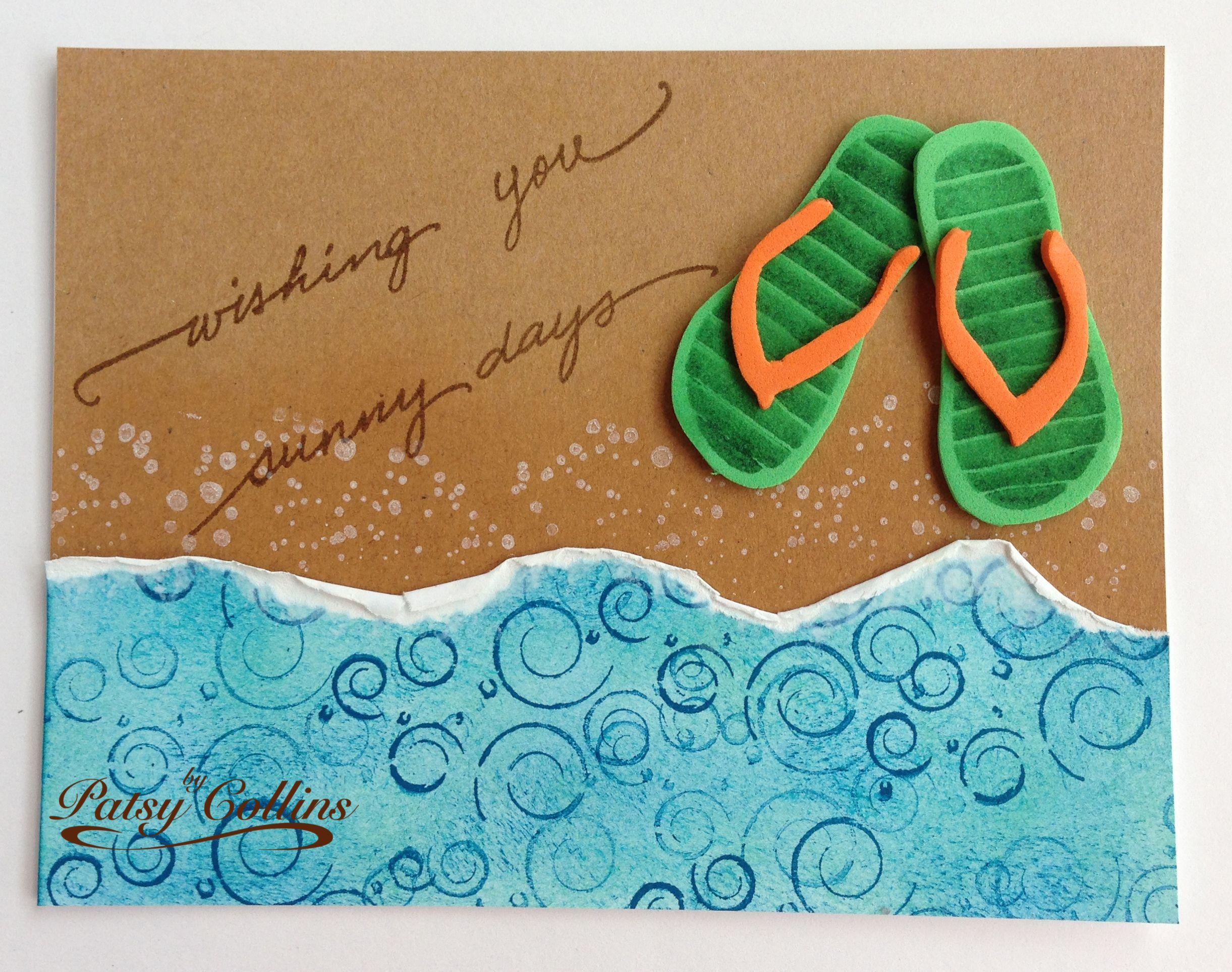 "By Patsy Collins, CASE'd from Sallie (hobbydujour at splitcoaststampers). Cut white cardstock 5 1/2"" x 2 1/8."" Sponge with Pool Party, Tempting Turquoise, and Pacific Point. Stamp swirls in Pacific Point. (stamp from Local King ""Fancy Swirly"" set) Let dry. Tear one long edge in waves, leaving white along the torn edge. Dab picket fence Distress Paint along white edge. Let dry. [continued in Comments]"