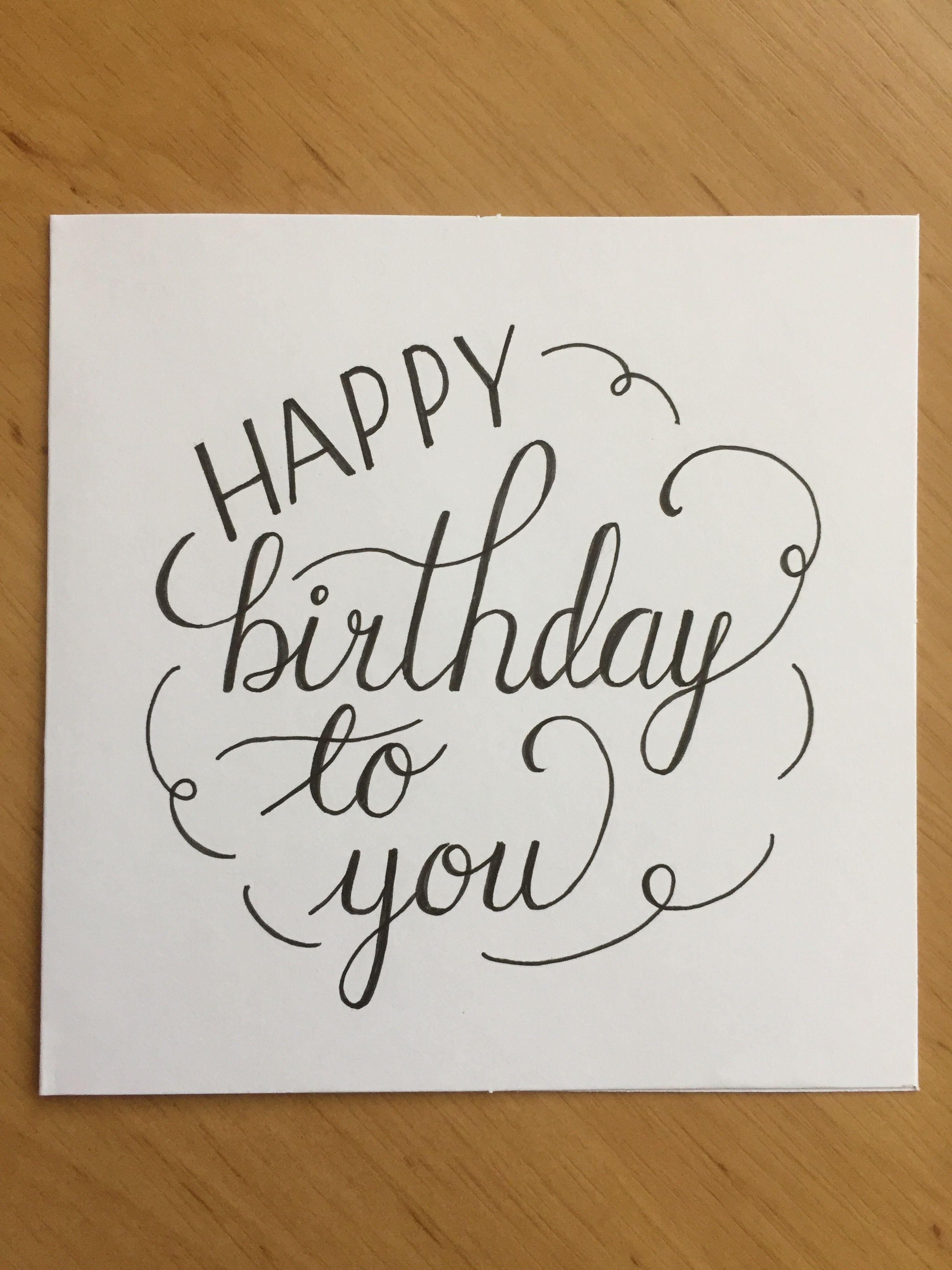 Beschriftung Einer Karte Happy Birthday Schriftzug