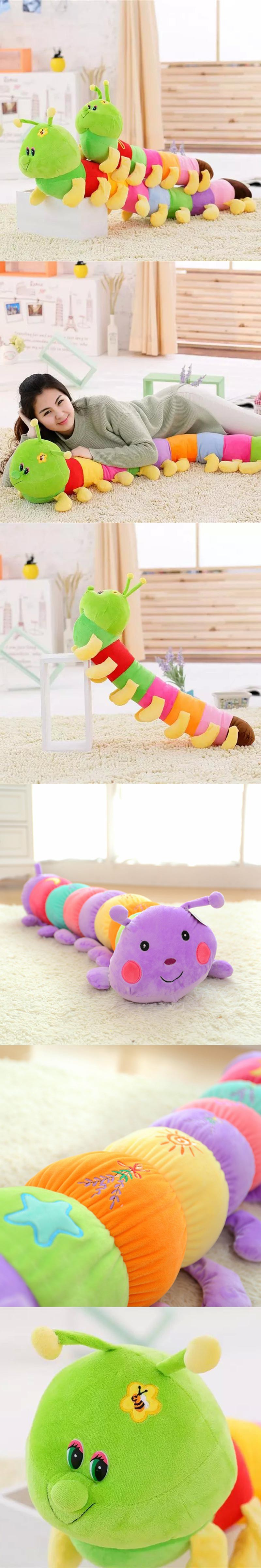 Giant Colorful 80cm Caterpillar Plush Toy Stuffed Worm Doll Kids