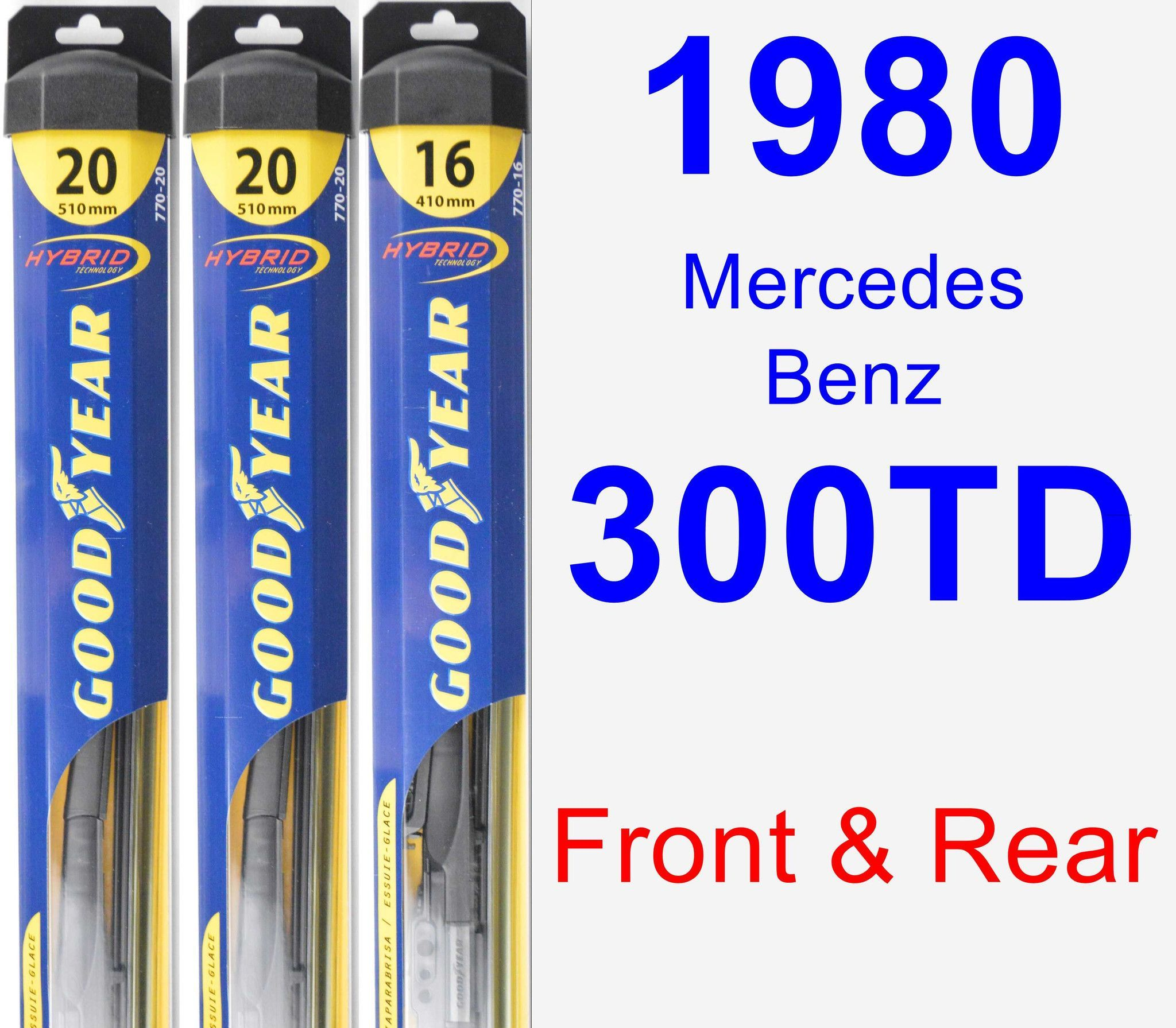 Front & Rear Wiper Blade Pack for 1980 Mercedes-Benz 300TD - Hybrid