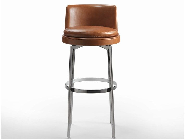 High Upholstered Leather Stool Feel Good Collection By Flexform