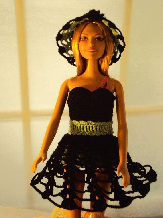 BarbieDoll Summer Black Dress by BarbsBarbieHats on Etsy