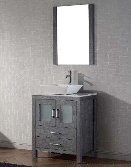 Abodo 28 Inch Single Vessel Sink Bathroom Vanity Grey Finish Bathroom Vanity Single Bathroom Vanity Vessel Sink Bathroom Vanity