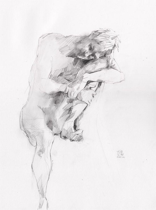 Life Drawing - Man sitting - Pencil on Paper