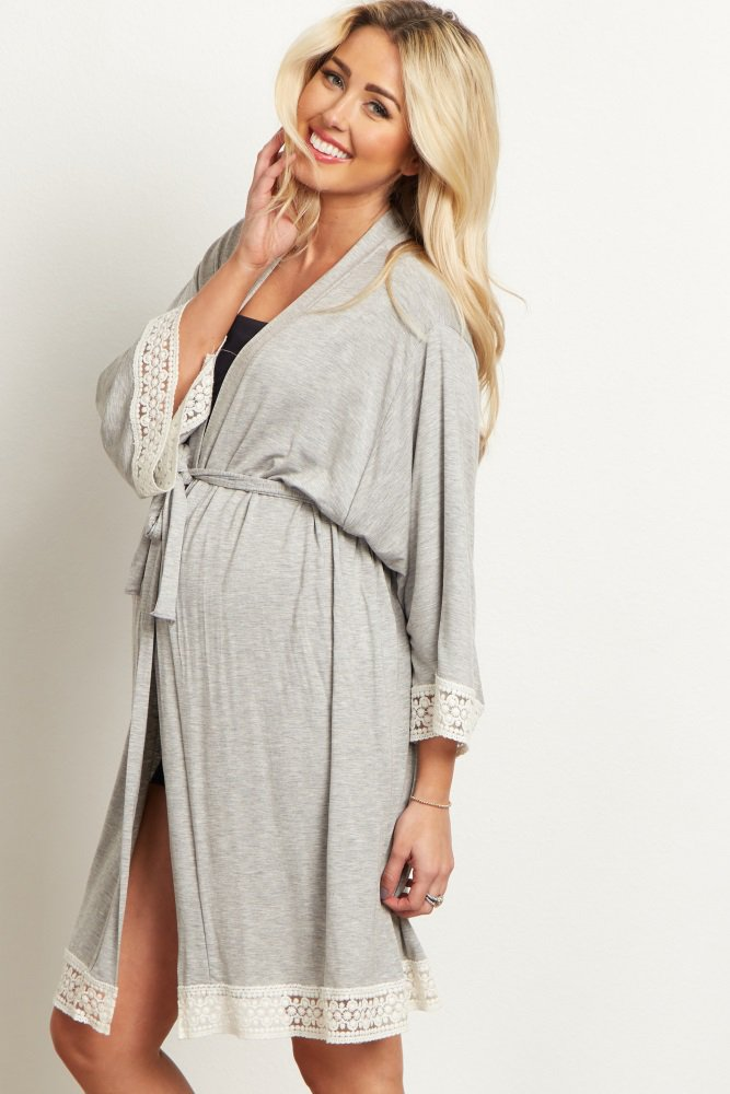 655533a2ca26f Grey Crochet Trim Dressing Robe A solid delivery/nursing maternity robe  with a crochet hemline. Open front with tie closure.