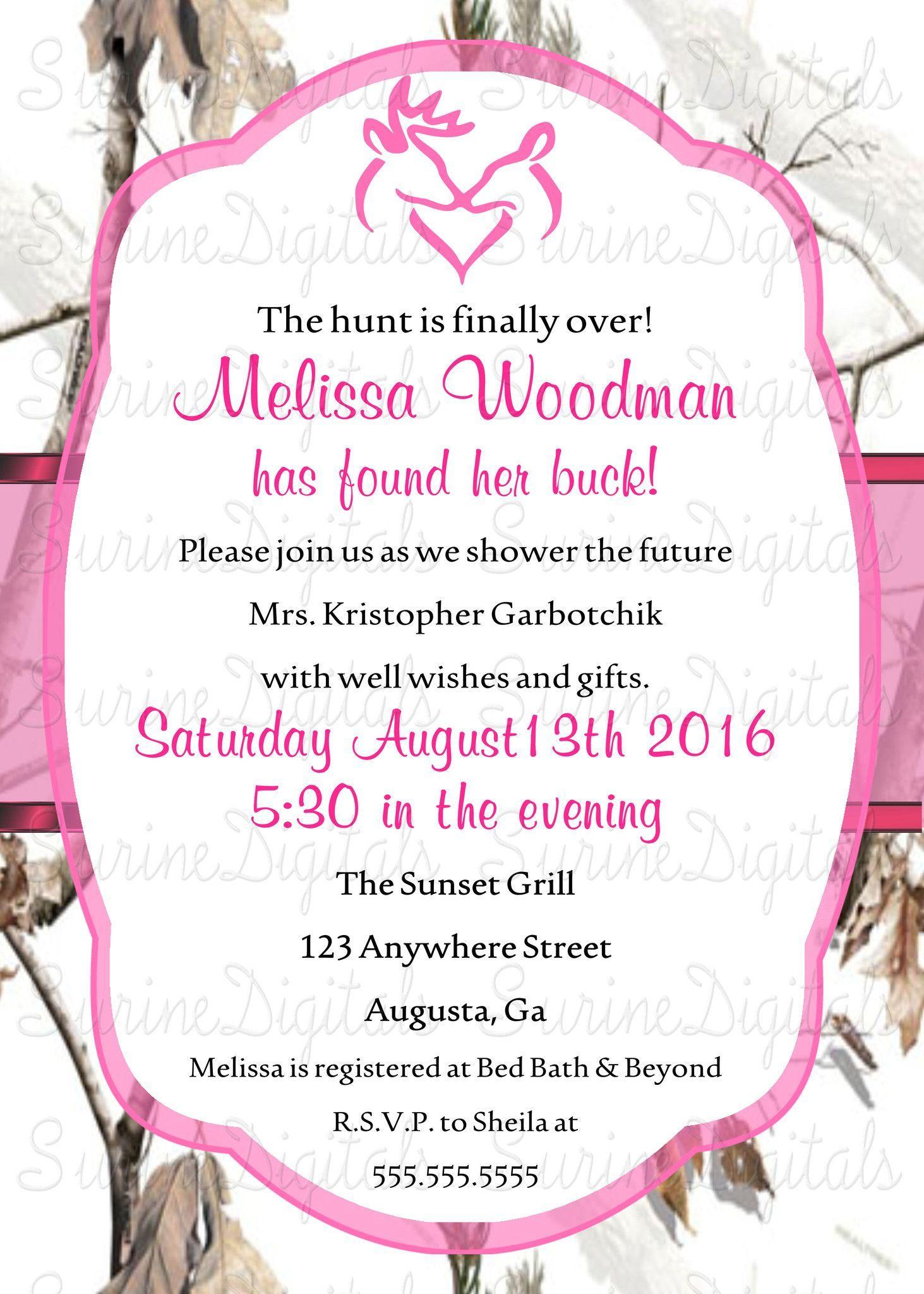 Realtree Snow camo Bridal Shower Invitation/ Country Themed Wedding ...