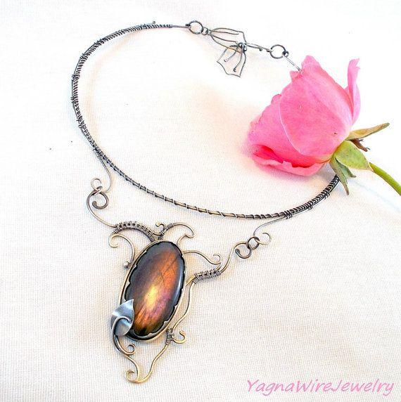 Purple Labradorite Choker Necklace  Sterling by YagnaWireJewelry