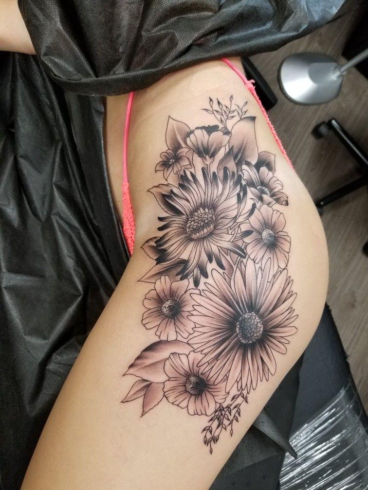 Female flower tattoo on hip jasonsorrow07