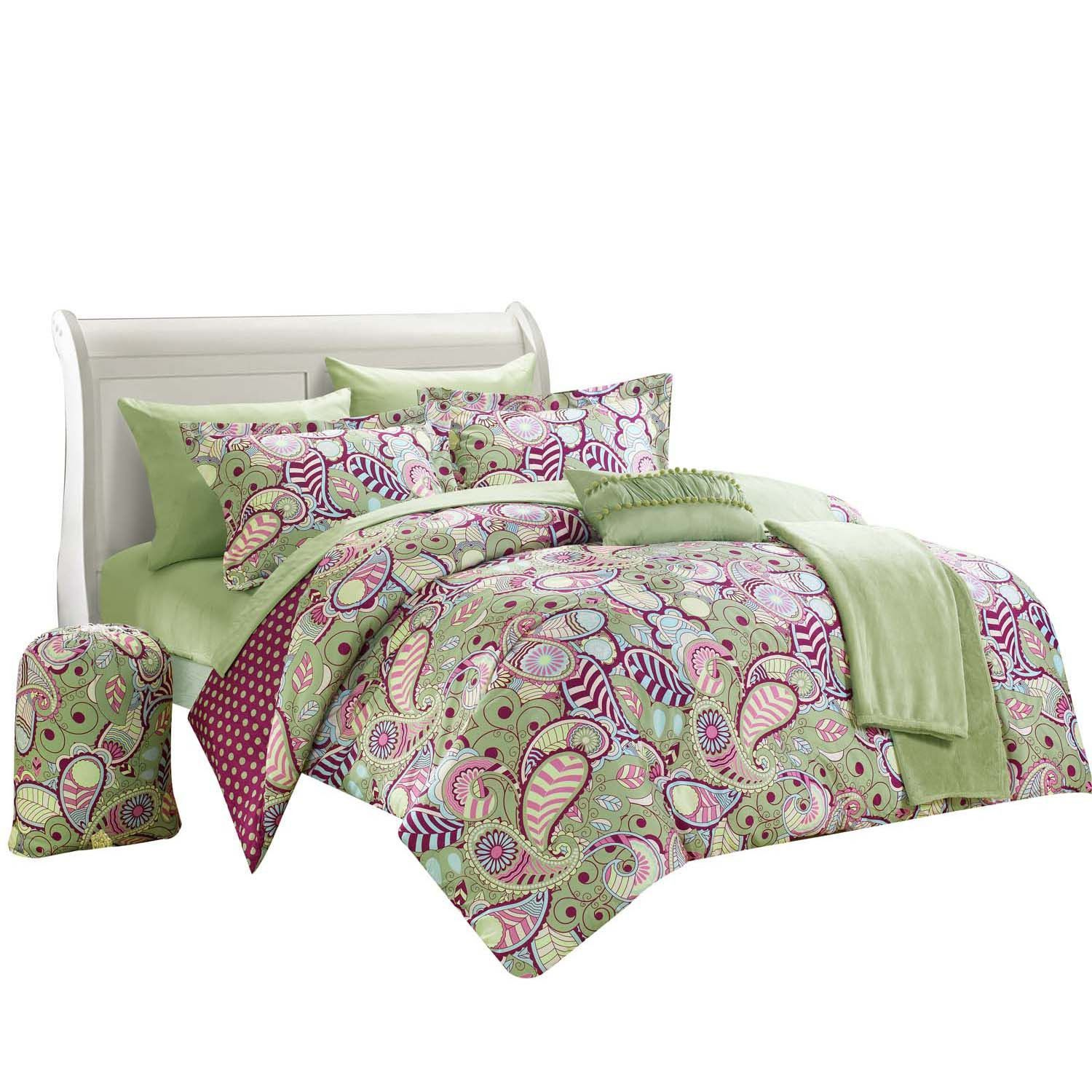 Princess Paisley Polka Dot forter Set Bed In A Bag Full Twin XL