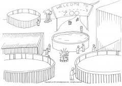 Zoo Scene Black And White Google Search Zoo Coloring Pages Zoo Drawing Zoo Map