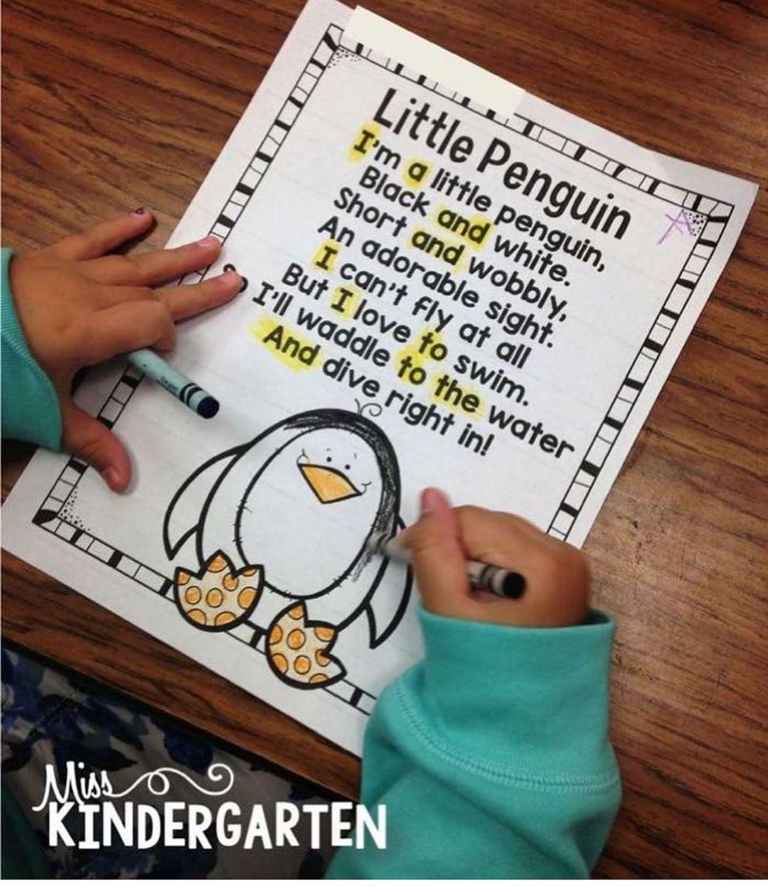 Miss Kindergarten Hadar On Instagram Penguin Poetry