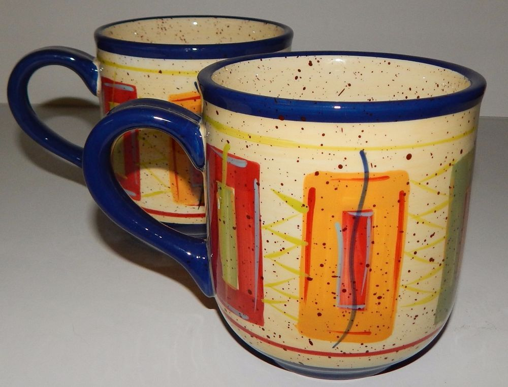 2) PFALTZGRAFF SEDONA HAND PAINTED Stripe Rectangle BIG MUGS CUP ...