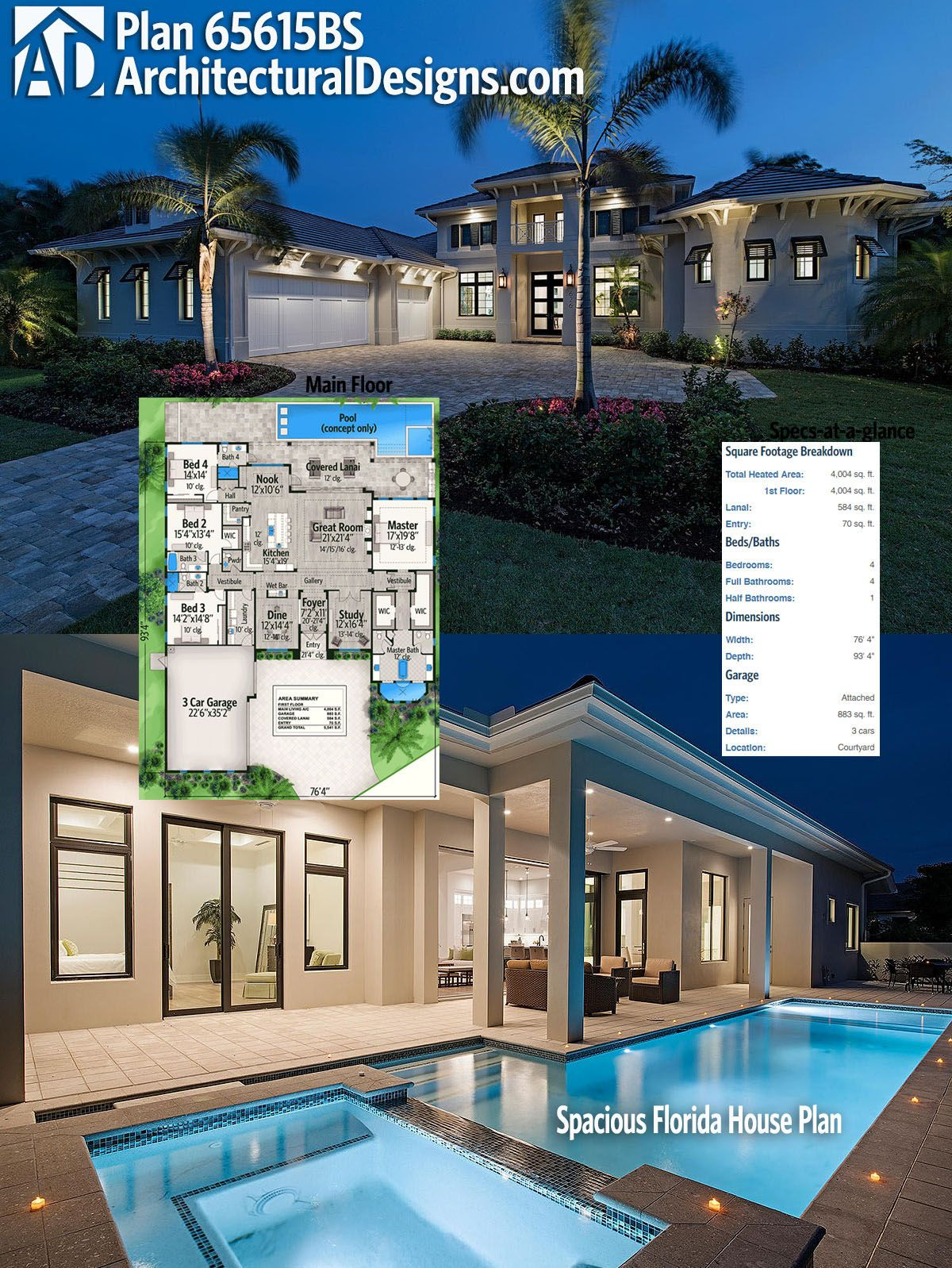 The covered lanai in back of architectural designs house plan 65615bs has 12 ceilings and