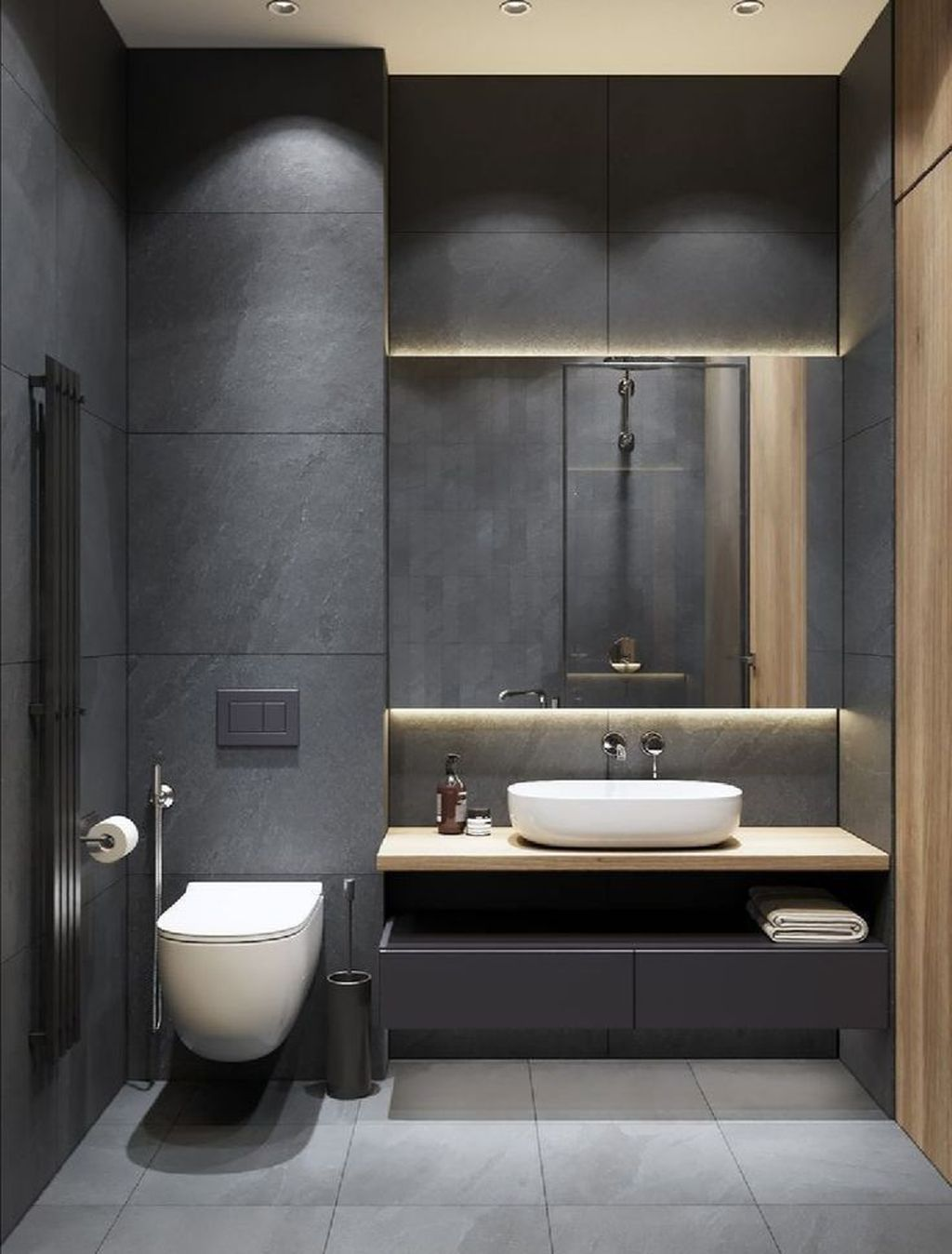36 Nice Small Bathroom Design Ideas That You Should Copy Minimalist Bathroom Design Washroom Design Restroom Design Minimalist luxury small bathroom