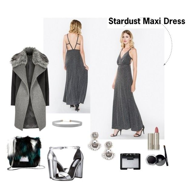 """""""Stardust Maxi Dress - Lúzzo"""" by shopluzzo on Polyvore featuring Steve Madden, Humble Chic, River Island, Ilia, NARS Cosmetics, Chanel, dress, maxi, evening and holiday"""