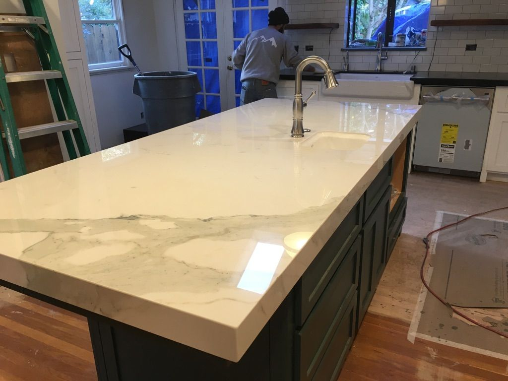 Carrara Quartz Island W Mitered Edge Detail Kitchen Remodel Countertops Kitchen Countertops