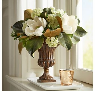 Magnolia Arrangement In Fluted Urn Church Flower Arrangements Floral Arrangements Diy Flower Arrangements