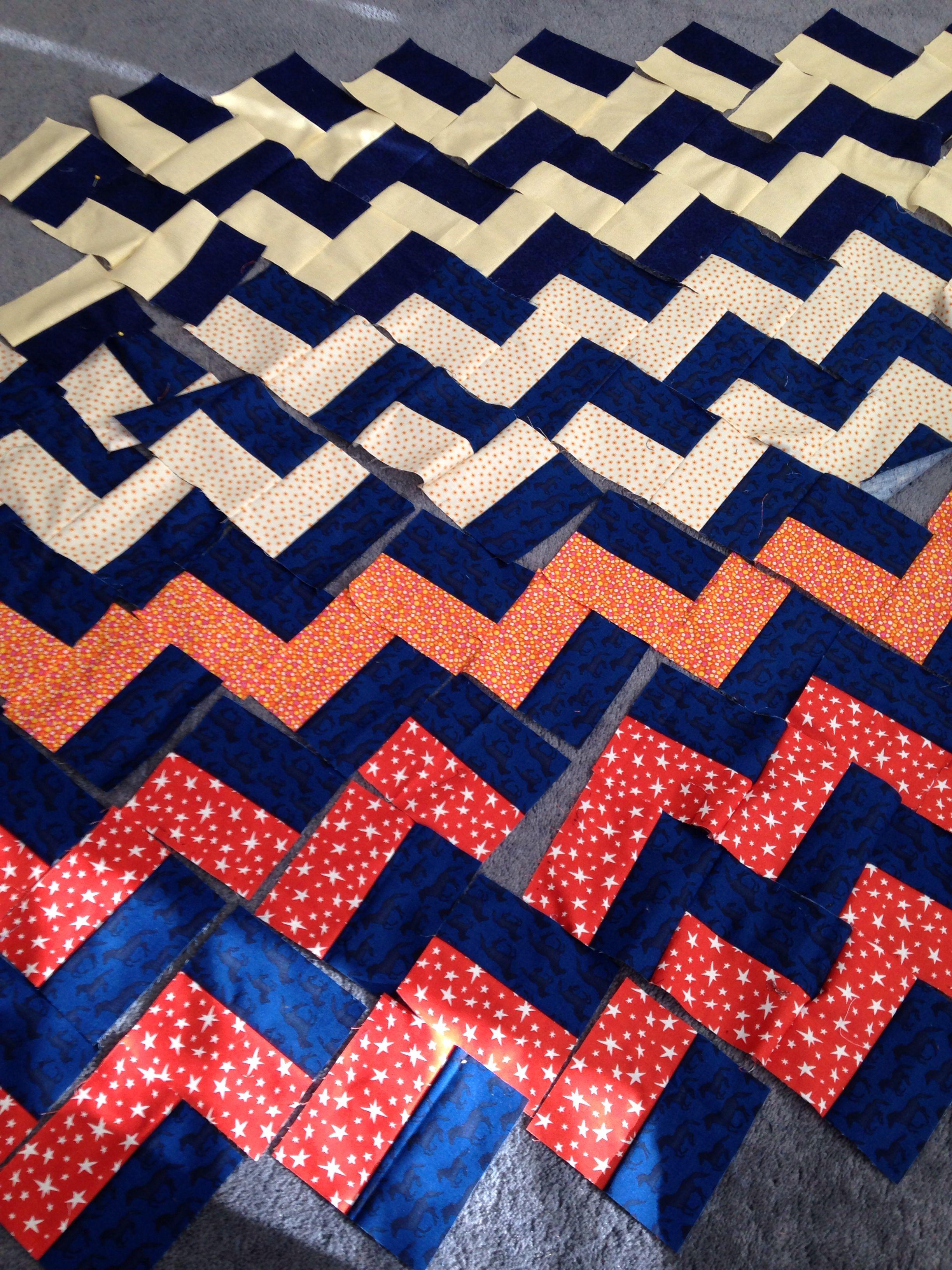 Zigzag quilt in progress