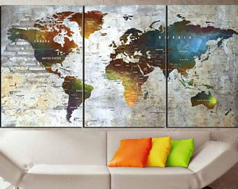 Large watercolor world map canvas panelsworld map artpush pin map large watercolor world map canvas panelsworld map artpush pin maptravel gumiabroncs Image collections