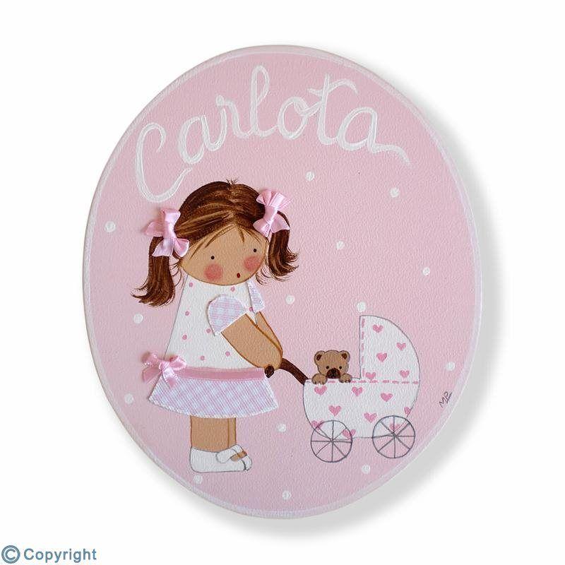 Placa de puerta personalizada: Niña con un cochecito de bebé (ref. 12157-01)