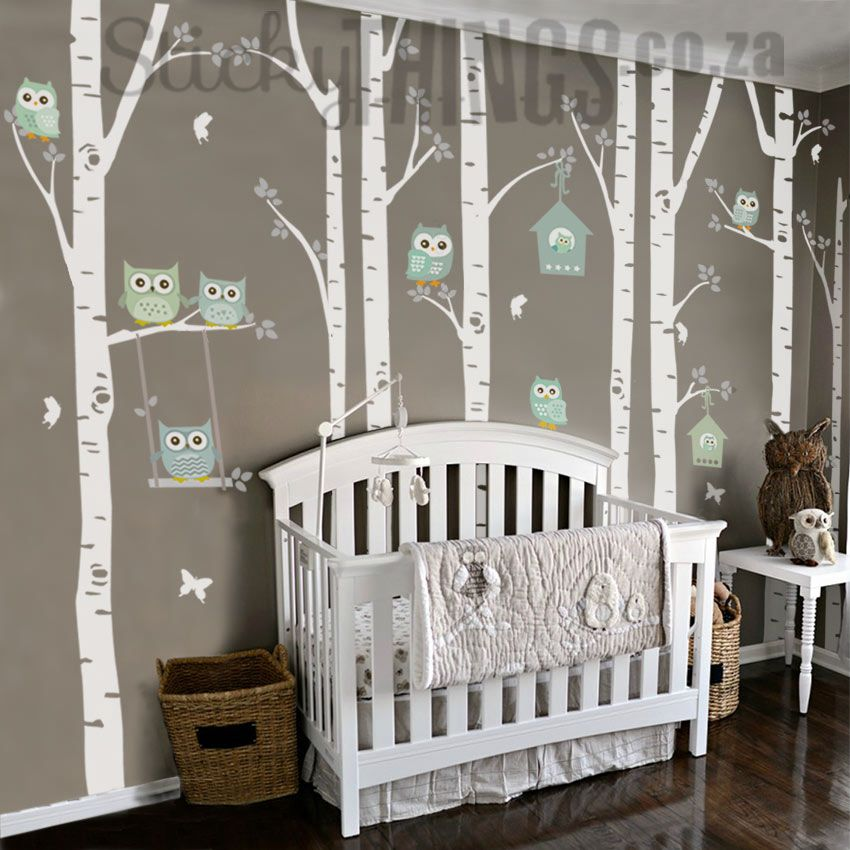 The Owl Nursery Wall Vinyl Forest Stickythings Co Za