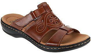 c56b0c03d Clarks As Is Leather Adjustable Slide Sandals - Leisa Higley ...