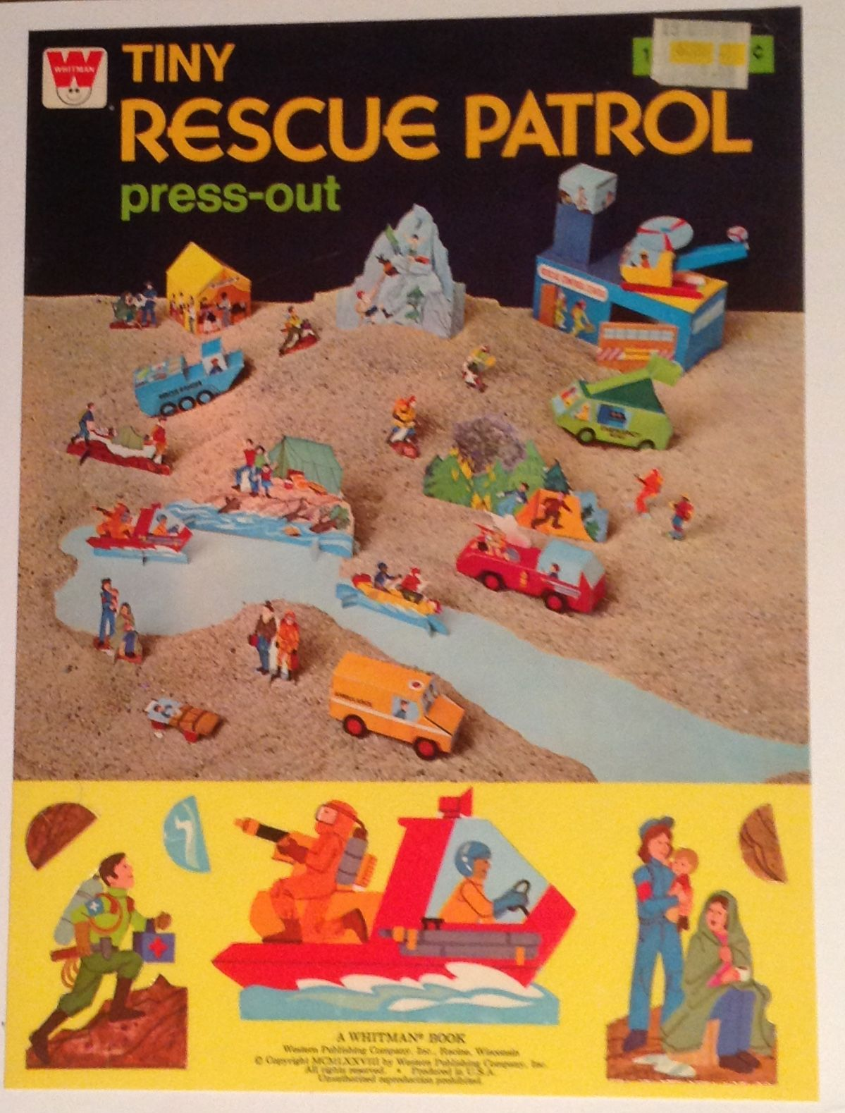 Whitman hot wheels coloring book - Whitman Tiny Rescue Patrol Press Out Book