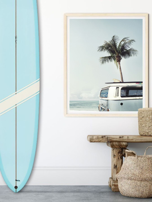 Surf Lovers Decor Surf Wall Art Surf Van Baby Blue Van Light Blue Poster Wanderlust Print Surf Style Bedroom Beachy Room Beach Room Decor