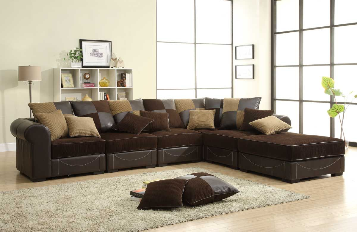 Homelegance Lamont Modular Sectional Sofa Set B   Chocolate Corduroy And  Dark Brown Bi Cast Price: $1,659.00