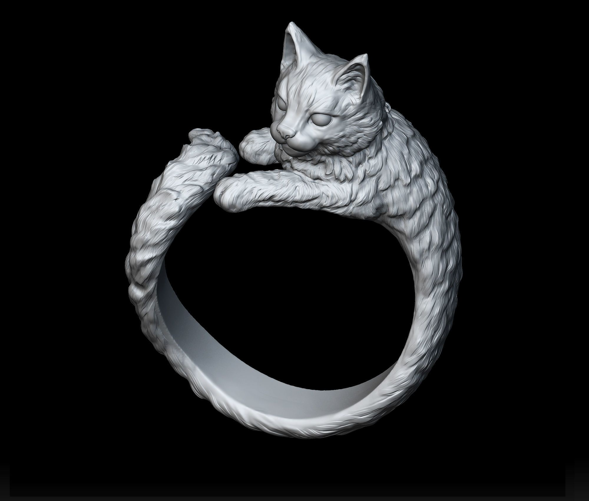 High detailed cat ring 3D Print Model Cat ring, 3d