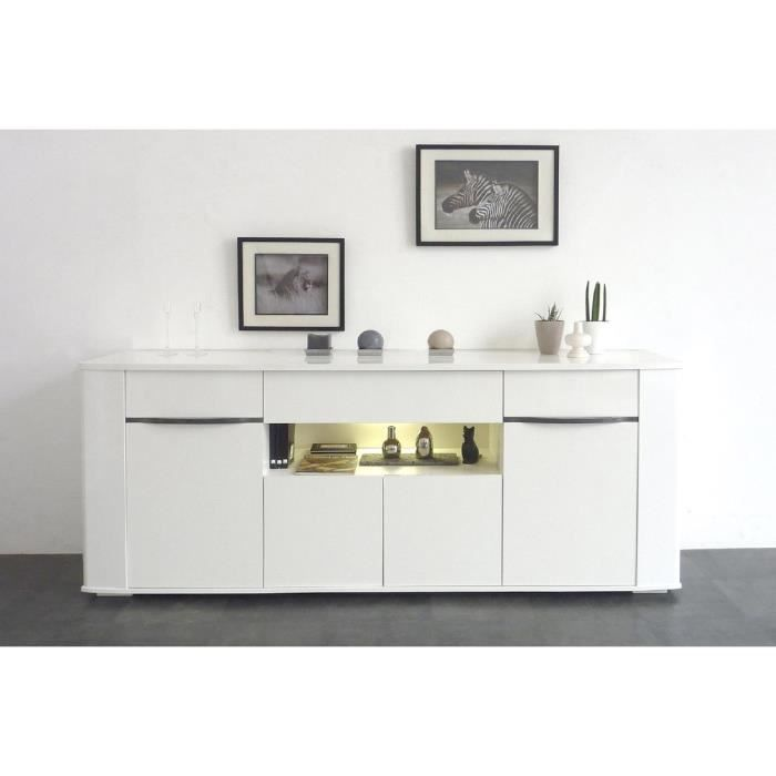 top maison white buffet bas 200cm 4 portes 1 tiroir 1 niche blanc brillant. Black Bedroom Furniture Sets. Home Design Ideas