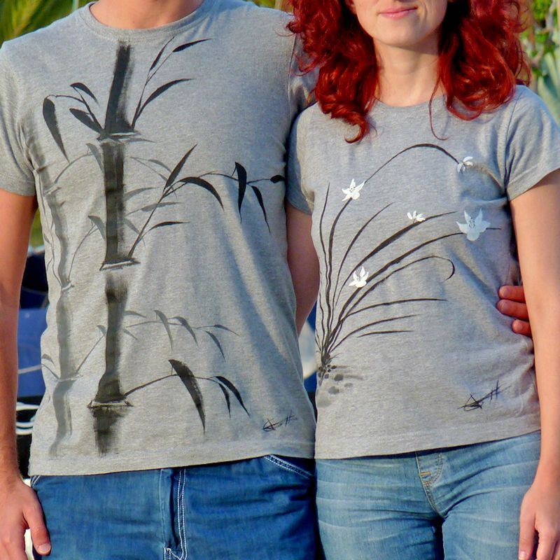 Zenmisetas bambú y orquídea silvestre, camiseta unida al arte zen del sumi-e. Pintada 100% a mano, lo que hace cada camiseta diferente y única. http://www.artaliquam.com/20-zenmisetas #camisetas #tshirts