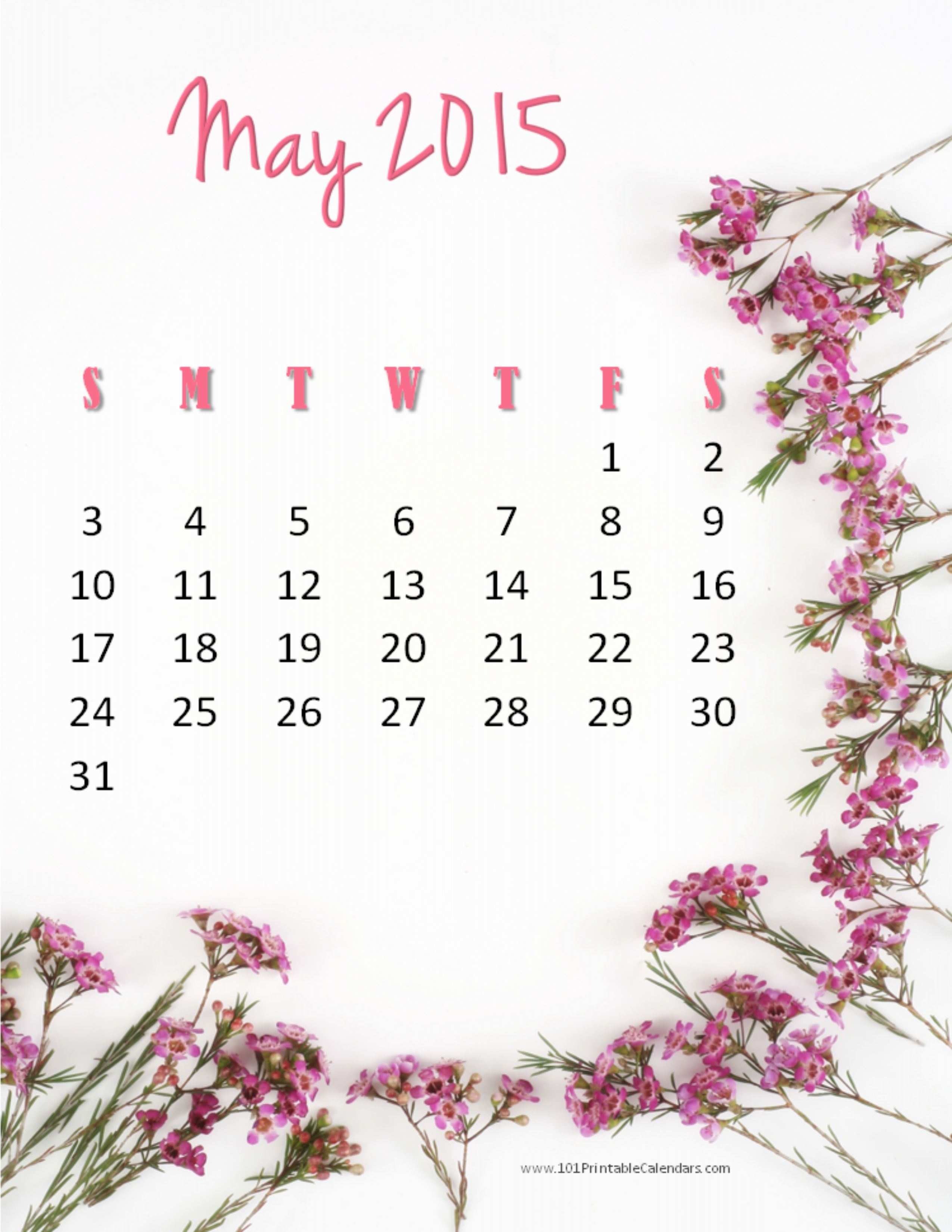 May 2015 Calendar Image Printable Pdf Template Excel Doc